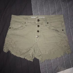mossimo high-rise dull green denim shorts